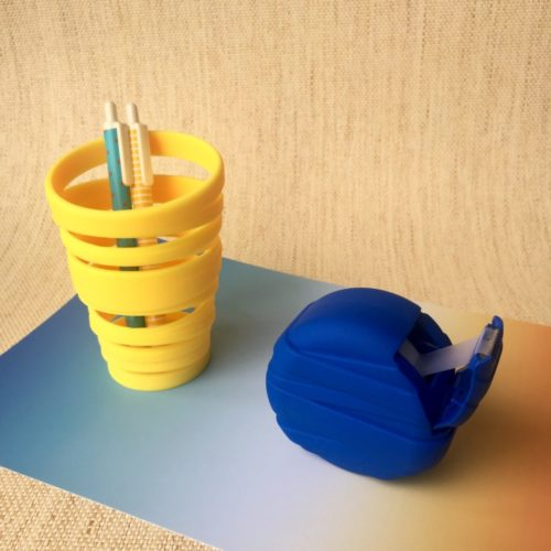 twist pen stand and tape dispenser